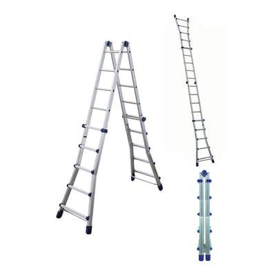 Scala telescopica FACAL BRIKOBLU 5+5 in alluminio 5+5 gradini per lavori fino a 6.05 m