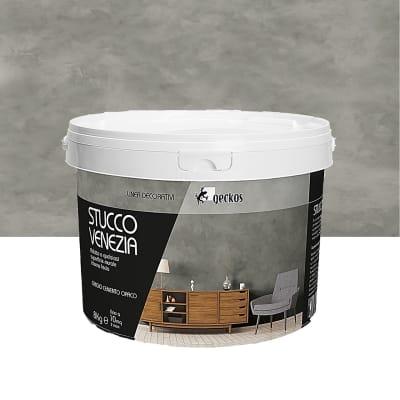 Pittura decorativa GECKOS Stucco 8 kg grigio cemento effetto cemento