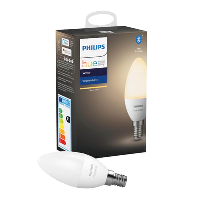 Lampadina smart lighting LED, HUE WHITE BLUETOOTH, E14, Oliva, Opaco, Luce calda, 5.5W=470LM (equiv 40 W), 150° , PHILIPS HUE
