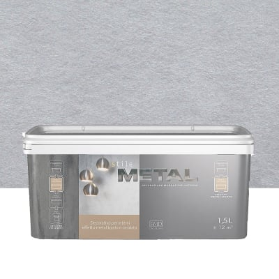 Pittura decorativa RMD DECORAZIONE Stile Metal 1.5 l grigio alluminio effetto metallo