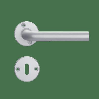 Maniglia con rosetta e bocchetta in alluminio anodizzato