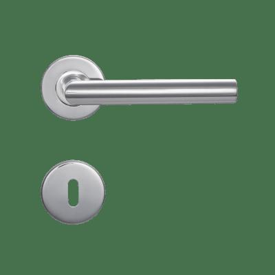 Maniglia con rosetta e bocchetta INSPIRE in acciaio spazzolato
