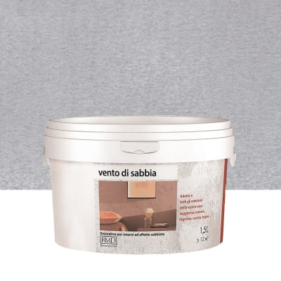 Pittura decorativa RMD DECORAZIONE Vento di sabbia 1.5 l grigio silver effetto sabbiato
