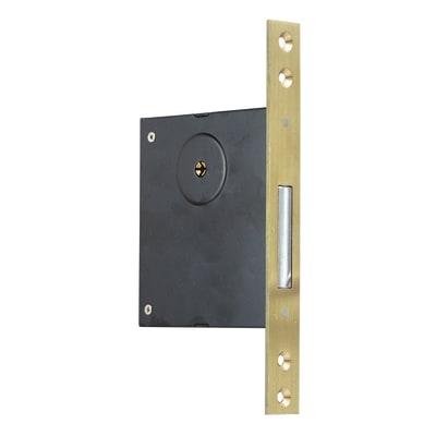 Serratura a incasso chiusura per porta garage o cantina, entrata 5 cm, interasse 50 mm sinistra e destra