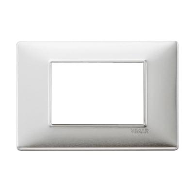 Placca VIMAR Plana 3 moduli alluminio spazzolato
