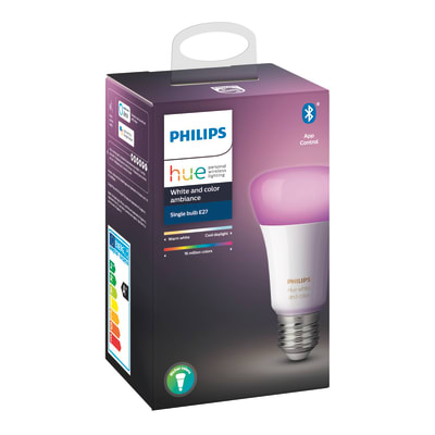 Lampadina smart lighting LED, HUE COLOR BLUETOOTH, E27, Goccia, Trasparente, RGB, 9W=806LM (equiv 60 W), 150° , PHILIPS HUE