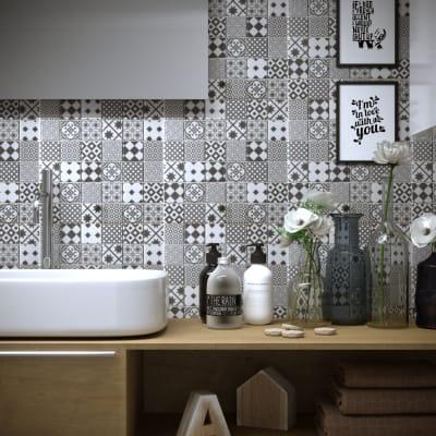 Mosaico Cementine Grigia H 30 x L 30 cm grigio/bianco