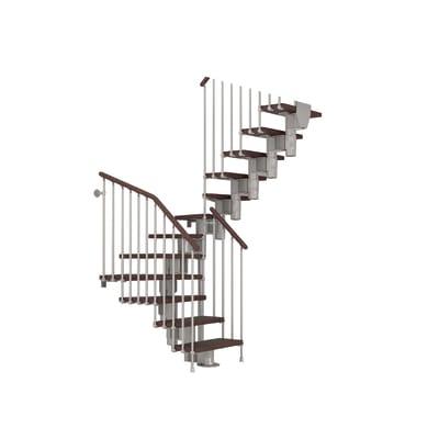 Scala a rampa due quarti di giro Long FONTANOT L 65 cm, gradino faggio scuro, struttura cromato