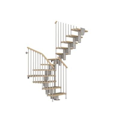 Scala a rampa due quarti di giro Long FONTANOT L 75 cm, gradino faggio naturale, struttura cromato