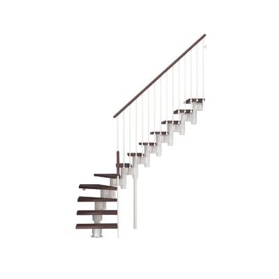 Scala a rampa 1/4 di giro Long FONTANOT L 90 cm, gradino faggio scuro, struttura bianco