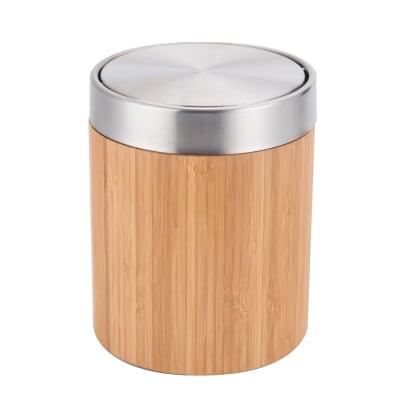 Pattumiera da bagno a ribalta SENSEA 3 Lin legno