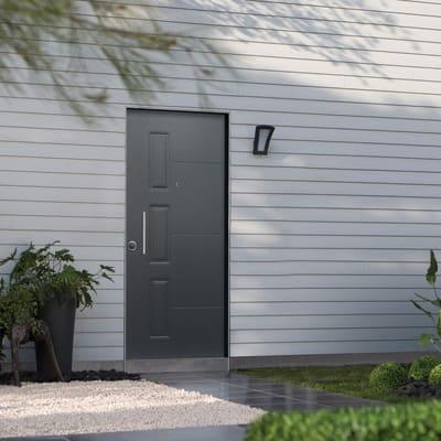 Porta blindata Smoking grigio L 90 x H 210 cm destra
