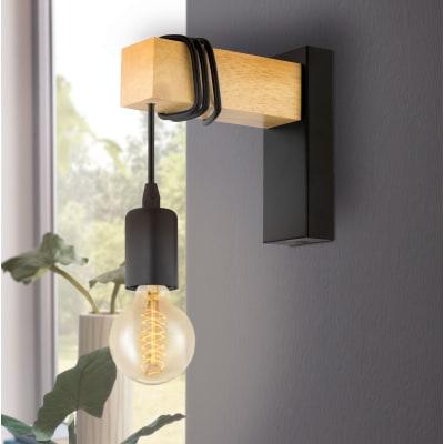 Applique industriale Townshend nero/marrone, in metallo,  D. 6.5 cm 6.5x18.5 cm, EGLO