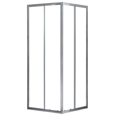 Box doccia quadrato scorrevole Essential 70 x 70 cm, H 185 cm in vetro temprato, spessore 4 mm trasparente cromato