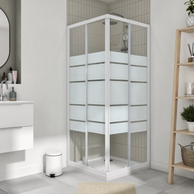 Box doccia quadrato scorrevole Essential 80 x 80 cm, H 185 cm in vetro temprato, spessore 4 mm serigrafato bianco