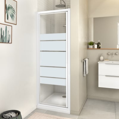 Porta doccia rotante Essential 70 cm, H 185 cm in vetro, spessore 4 mm serigrafato bianco