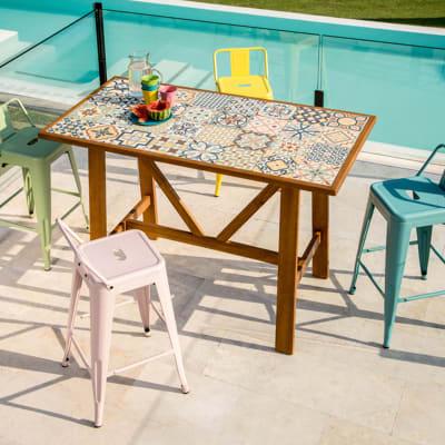 Set tavolo e sedie Soho in acacia multicolore 4 posti ...