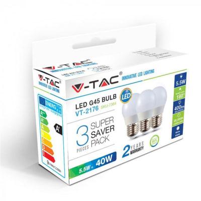 Lampadina LED E27 sferico bianco freddo 5.5W = 470LM (equiv 35W) 180° , 3 pezzi