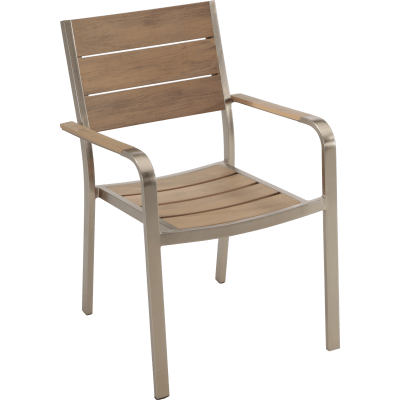 Sedia da giardino senza cuscino in alluminio Moscow NATERIAL colore marrone