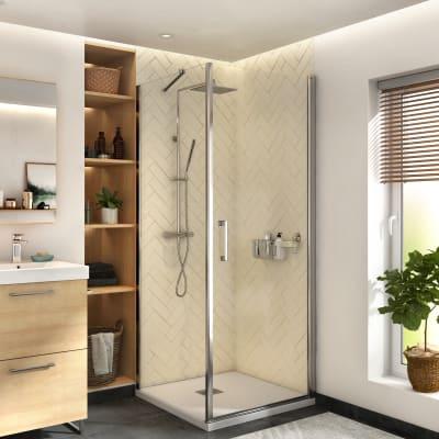 Box doccia angolare con porta a battente e lato fisso quadrato Remix 80 x 80 cm, H 195 cm in vetro temprato, spessore 6 mm trasparente cromato