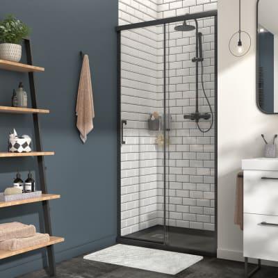 Porta doccia 1 anta fissa + 1 anta scorrevole Remix 100 cm, H 195 cm in vetro, spessore 8 mm trasparente nero