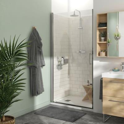 Porta doccia battente Remix 100 cm, H 195 cm in vetro, spessore 8 mm trasparente cromato