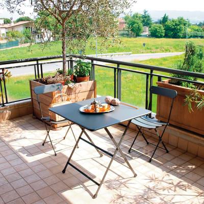 Set tavolo e sedie OASI BY EMU Cassis in metallo grigio / argento 2 posti