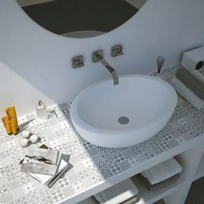 Mosaico Cementina grigi H 30 x L 30 cm bianco/grigio