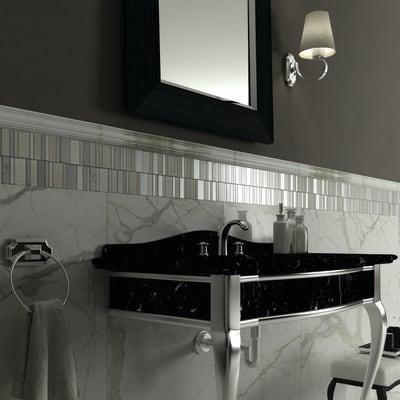 Mosaico Summer White H 30 x L 30 cm bianco/grigio