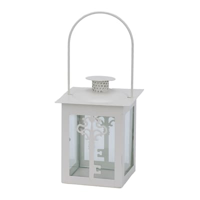 Portacandela bianco H 14 cm, L 10 x L 10 cm