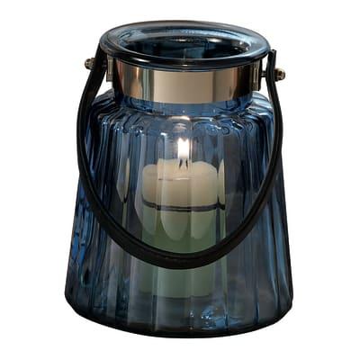 Portacandela colori assortiti blu,verde,rosa,grigio H 17.5 cm,