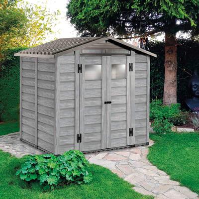 Casetta da giardino in pvc Garofalo Woody 200 Grey,  superficie interna 3.13 m² e spessore parete 20 mm