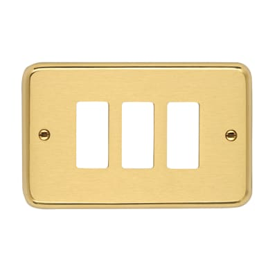 Placca CAL 8000 3 moduli satinato /lucido ottone