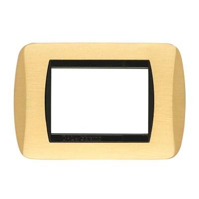 Placca CAL Living International 3 moduli oro satinato satinato compatibile con living international