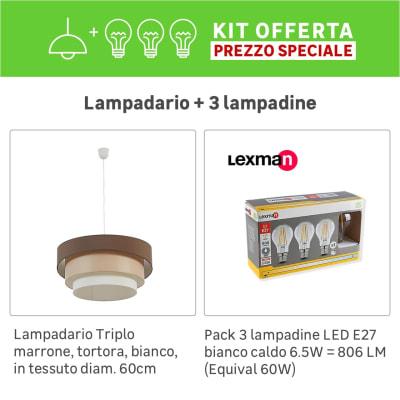 Lampadario Moderno KIT+1 PACK 3 LAMPADINE Triplo marrone, tortora, bianco, in tessuto, D. 60 cm