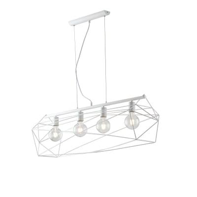 Lampadario Design Abraxas bianco in metallo, D. 29.5 cm, L. 120 cm, 4 luci, FAN EUROPE