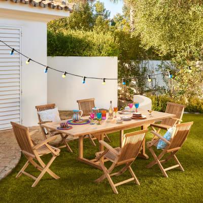 Set tavolo e sedie Amalfi in legno marrone 6 posti