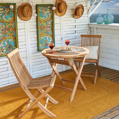 Set tavolo e sedie Amalfi in legno marrone 2 posti