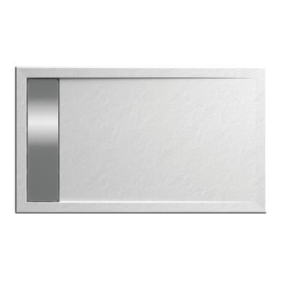 Piatto doccia acrilico rinforzato fibra di vetro Bali Stone 100 x 70 cm bianco con superficie effetto ardesia