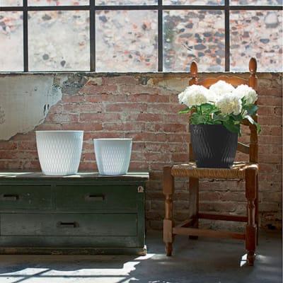 Vaso Liberty STEFANPLAST in plastica colore grigio H 23 cm, Ø 25 cm