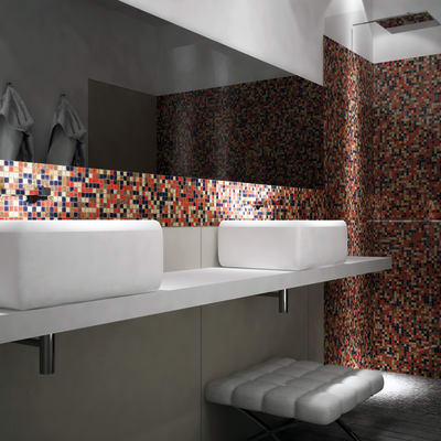 Mosaico H 31 x L 31 cm dorato/arancio/viola/nero
