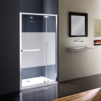 Porta doccia battente Namara 115 cm, H 195 cm in vetro temprato, spessore 8 mm serigrafato satinato