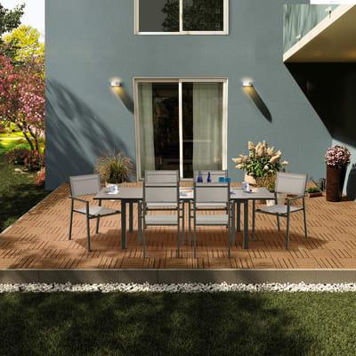 Set tavolo e sedie Lyra in alluminio marrone 6 posti