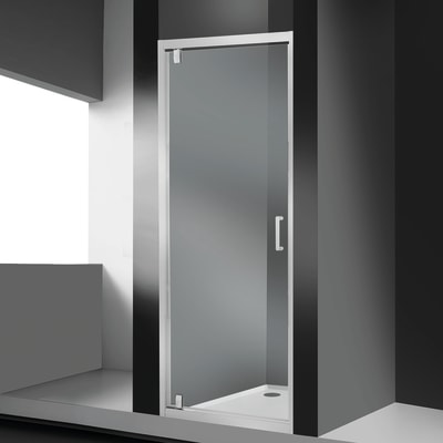 Porta doccia battente Sinque 70 cm, H 190 cm in vetro temprato, spessore 5 mm trasparente bianco