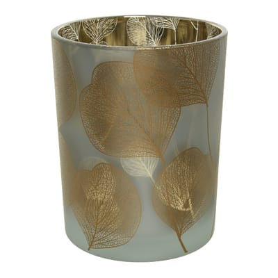 Portacandela bianco/oro H 12.5 cm,