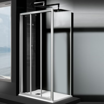 Porta doccia scorrevole Essential 90 cm, H 185 cm in vetro temprato, spessore 4 mm trasparente satinato