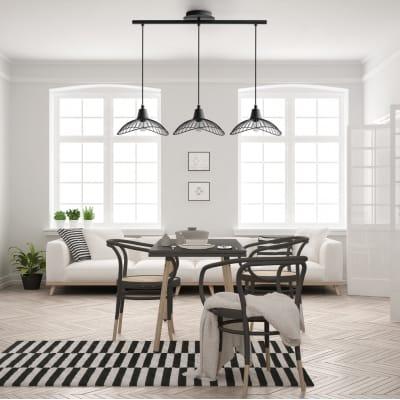 Lampadario Design Kasteli nero in metallo, D. 77 cm, L. 77 cm, 3 luci, SEYNAVE