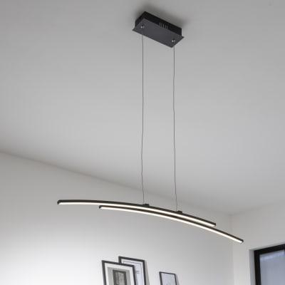 Lampadario Design Beryl LED integrato nero, in alluminio, L. 95 cm, 2 luci, INSPIRE
