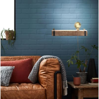 Applique industriale Woodhill nero e legno, in metallo, 40x13 cm, BRILLIANT