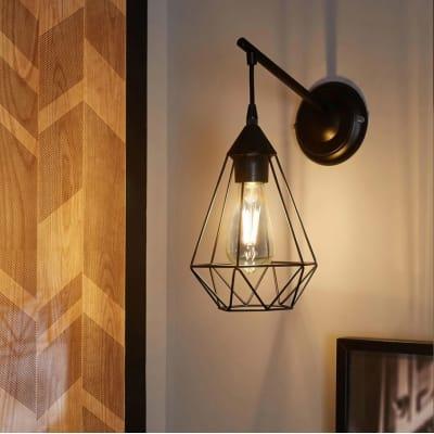 Applique design Byron nero, in metallo, 15.5x27.5 cm, INSPIRE
